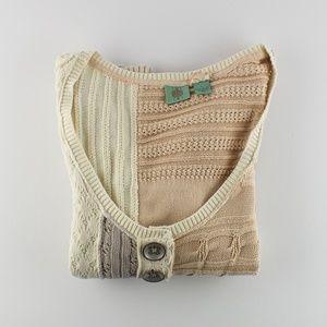 Anthropologie HWR Patchwork Short Sleeve Sweater